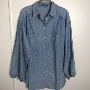Vince Button Up Blue Tunic Size M